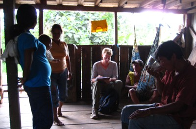 Conducting interviews with community members in the Province of Orellana. Photo by Wain Collen