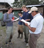 The research team preparing for interviews in the communities. Photo by Kimberly Nicholas